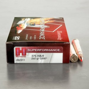 20rds – 375 H&H Magnum Hornady Superformance 250gr. GMX Ammo