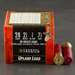 "25rds - 28 Gauge Federal Wing Shok Upland Hi Brass 2 3/4"" 3/4oz. #7 1/2 Shot Ammo"
