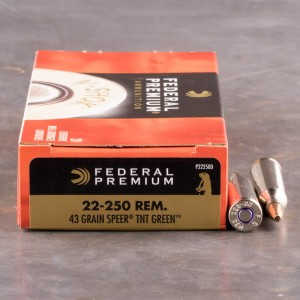 20rds - 22-250 Federal 43gr. Speer TNT Green Ammo