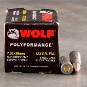 20rds - 7.62x39 WPA Polyformance 123gr. FMJ Ammo