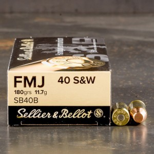 50rds - 40 S&W Sellier & Bellot 180gr. FMJ Ammo
