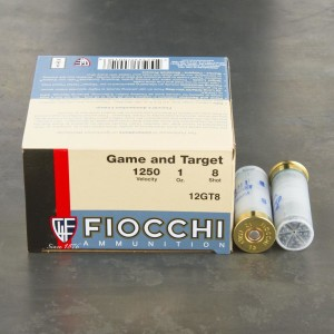 "25rds - 12 Gauge Fiocchi Game and Target 2 3/4"" 1oz. #8 Shot Ammo"