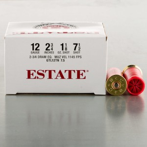 "250rds - 12 Gauge Estate Cartridge 2-3/4"" 1-1/8oz. #7-1/2 Shot Ammo"