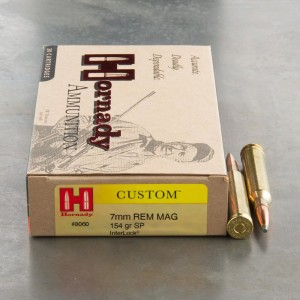 20rds - 7mm Rem Mag Hornady Custom 154gr. InterLock SP Ammo