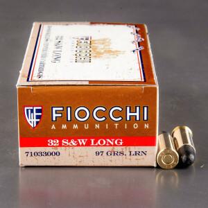 50rds - 32 S&W Long  Fiocchi 97gr. LRN Ammo