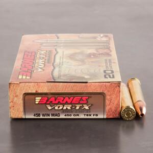 20rds - 458 Win. Mag Barnes VOR-TX 450gr. TSX FB Ammo