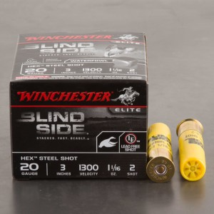 "25rds - 20 Gauge Winchester Blind Side 3"" 1 1/16oz. #2 Steel Shot Ammo"