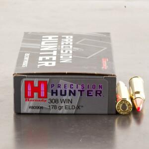 20rds - 308 Hornady Precision Hunter 178gr. ELD-X Ammo