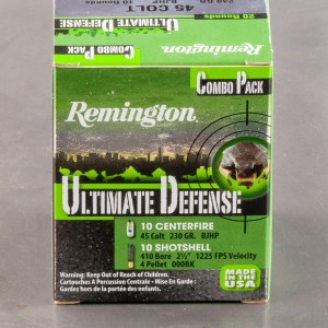 "20rds - .410/.45 Colt Remington Ultimate Defense .410 2 1/2"" 000 Buck / .45 Colt 230gr. BJHP Combo Pack Ammo"