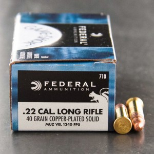 50rds - 22LR Federal Game Shok 40gr. HV Copper Plated Solid Point Ammo
