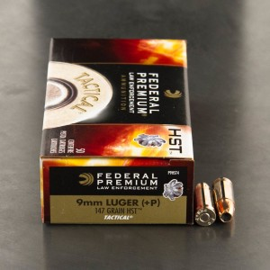 50rds - 9mm Federal LE Tactical HST 147gr. +P HP Ammo