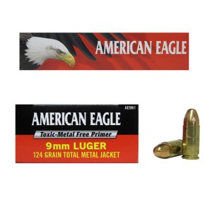 50rds - 9mm Federal American Eagle IRT 124gr. TMJ Ammo