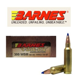 20rds - 300 WSM Barnes VOR-TX Polymer Tip 165gr. Tipped TSX Boattail Ammo