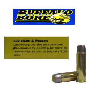 20rds - 500 S&W Buffalo Bore 440gr. Lead Flat Nose Ammo