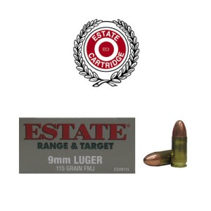 50rds - 9mm Estate 115gr. FMJ Ammo