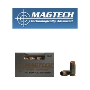 20rds - 40 S&W Magtech 130gr. First Defense Solid Copper HP Ammo