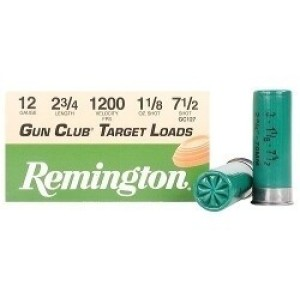 "25rds - 12 Gauge Remington Gun Club 2 3/4"" 1 1/8oz. #7 1/2 Shot Ammo"