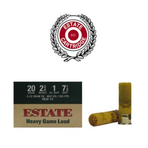 "25rds - 20 Gauge Estate 2 3/4"" 1oz. #7 1/2 Shot Heavy Game Load Ammo"