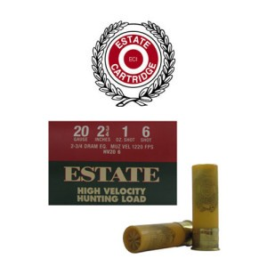 "25rds - 20 Gauge Estate HV Hunting 2 3/4"" 2 3/4 Dram 1oz. #6 Shot Ammo"