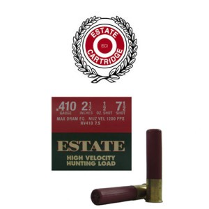 "25rds - 410 Gauge Estate HV Hunting 2 1/2"" Max Dram 1/2oz. #7 1/2 Shot Ammo"