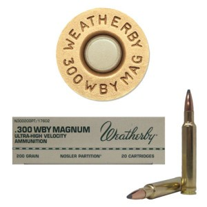 20rds - 300 Weatherby Mag. 200gr. Nosler Partition Ammo