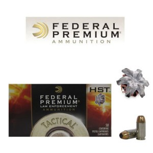 50rds - 45 ACP Federal LE Tactical HST 230gr. HP Ammo