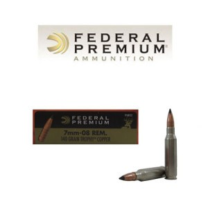 20rds - 7mm-08 Remington Federal Premium 140gr. Trophy Copper Polymer Tip Ammo