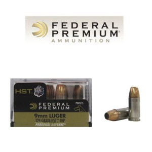 20rds - 9mm Luger Federal 124gr. HST HP Ammo