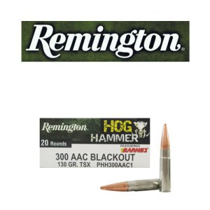 20rds - 300 AAC BLACKOUT Remington Hog Hammer 130gr. Barnes TSX HP Ammo