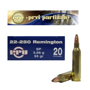 20rds - 22-250 Prvi Partizan 55gr. Soft Point Ammo