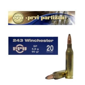 20rds - .243 Win Prvi Partizan 90gr. Soft Point Ammo