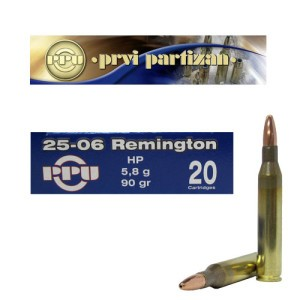 20rds - 25-06 Rem. Prvi Partizan 90gr. Hollow Point Ammo