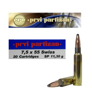 20rds - 7.5 Swiss Prvi Partizan 174gr. Soft Point Ammo
