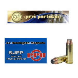 50rds - 44 Mag Prvi Partizan 300gr. Semi Jacketed Flat Point Ammo