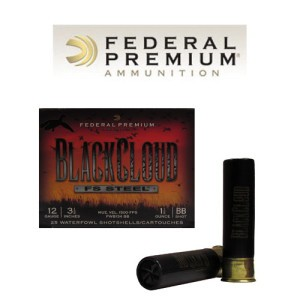 "25rds - 12 Ga. Federal Blackcloud 3 1/2"" 1 1/2oz #BB Steel Shot Ammo"