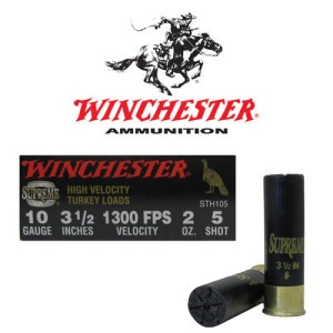 "10rds - 10 Gauge Winchester Supreme High Velocity 3 1/2""  2oz. #5 Shot Ammo"