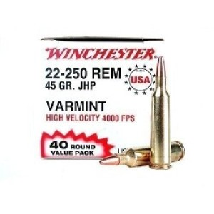 40rds - 22-250 Winchester USA Value Pack 45gr. Hollow Point Ammo