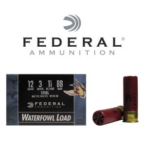 "25rds - 12 Ga. Federal Speed-Shok 3"" 1 1/4oz #BB Steel Shot Ammo"