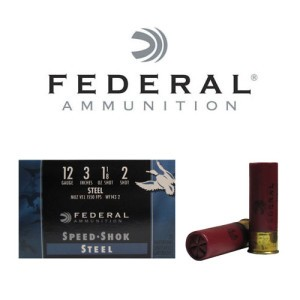 "25rds - 12 Ga. Federal Speed-Shok 3"" 1 1/8oz #2 Steel Shot"
