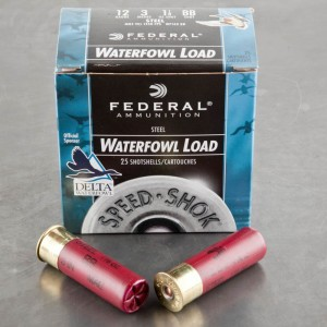"25rds - 12 Ga. Federal Speed-Shok 3"" 1 1/8oz #BB Steel Shot Ammo"