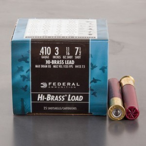 "25rds - .410 Gauge Federal Hi-Brass Game Shok 3"" Max Dram 11/16oz. #7 1/2 Shot Ammo"