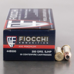 50rds - 44 Mag Fiocchi 200gr. Jacketed Hollow Point Ammo