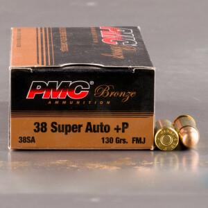 50rds - 38 Super Auto PMC Bronze 130gr. +P FMJ Ammo