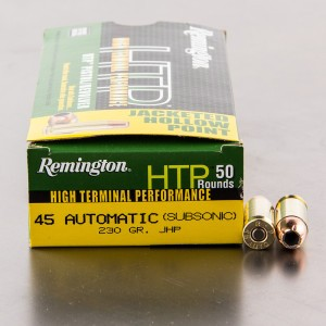 50rds - 45 ACP Remington HTP Subsonic 230gr. JHP Ammo