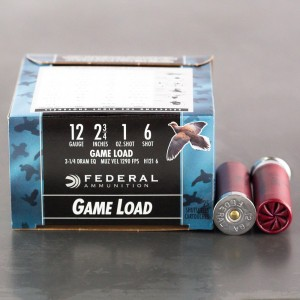 "25rds - 12 Gauge Federal Game Shok 2 3/4"" 1oz. #6 Shot Ammo"