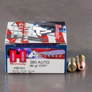 25rds – 380 Auto Hornady American Gunner 90gr. XTP Ammo