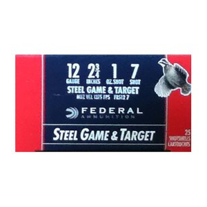"25rds - 12 Gauge Federal Game and Target 2 3/4"" 1 Ounce #7 Shot Ammo"
