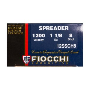 "25rds – 12 Gauge Fiocchi Power Spreader 2-3/4"" 1-1/8 oz. #8 Shot Ammo"