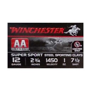 """25rds - 12 Gauge Winchester AA Steel Sporting Clay 2-3/4"""" 1 oz. 7.5 Ammo"""