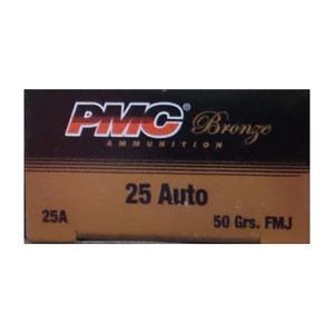 1000rds – 25 Auto PMC Bronze 50gr. FMJ Ammo
